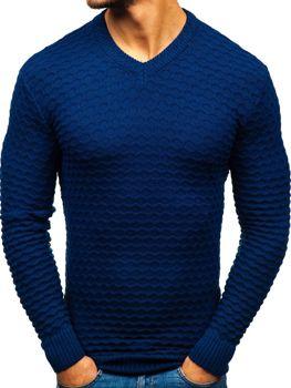 Чоловічий светр з v-подібним вирізом темно-синій Bolf6005