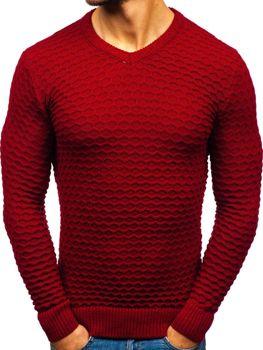 Чоловічий светр з v-подібним вирізом червоний Bolf6005