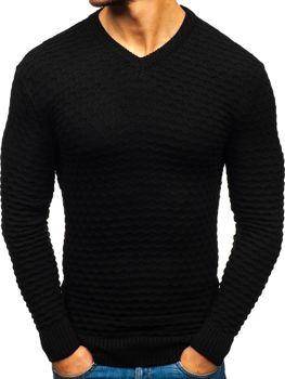 Чоловічий светр з v-подібним вирізом чорний Bolf6005