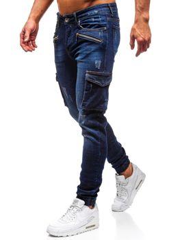 Чоловічі джинсові штани джогери темно-сині Bolf 3002