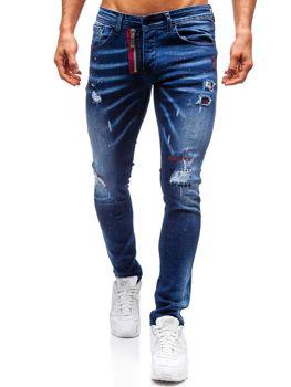 Чоловічі джинсові штани темно-сині Bolf 9237