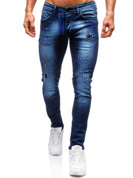 Чоловічі джинсові штани темно-сині Bolf 9241