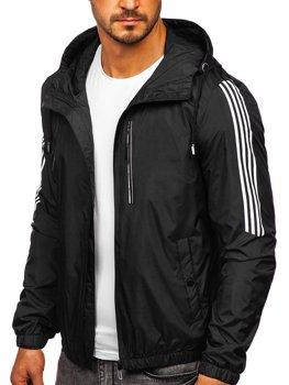 Чорна демісезонна чоловіча спортивна куртка з капюшоном Bolf 6172