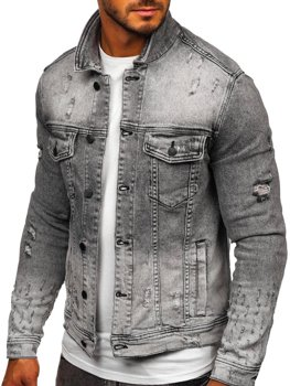 Чорна джинсова чоловіча куртка Bolf 6616G