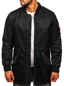 Чорна чоловіча демісезонна куртка парку Bolf JK363
