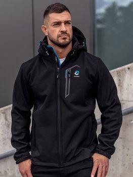 Чорна чоловіча куртка софтшелл Bolf WX062