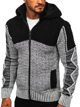 Чорний чоловічий светр товстої в'язки Bolf 2049
