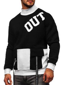 Чорно-біла чоловіча толстовка з принтом без капюшона Bolf 0001