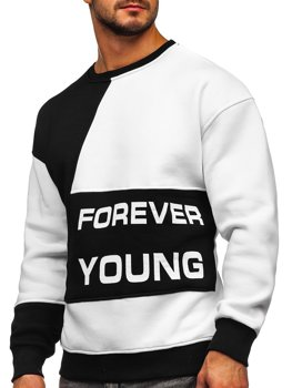 Чорно-біла чоловіча толстовка з принтом Forever Young без капюшона Bolf 0002