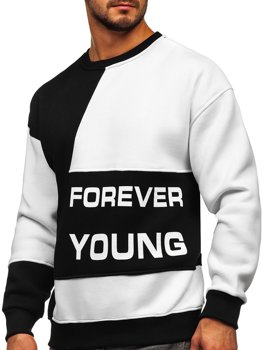 Чорно-біла чоловіча толстовка з принтом Forever Young без капюшона Bolf 0003