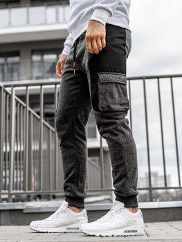 Штани чоловічі спортивні джоггери чорно-помаранчеві Bolf Q3774
