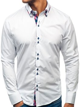 Элегантная мужская рубашка с длинным рукавом белая Bolf 2712