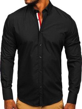 Элегантная мужская рубашка с длинным рукавом черная Bolf 3713
