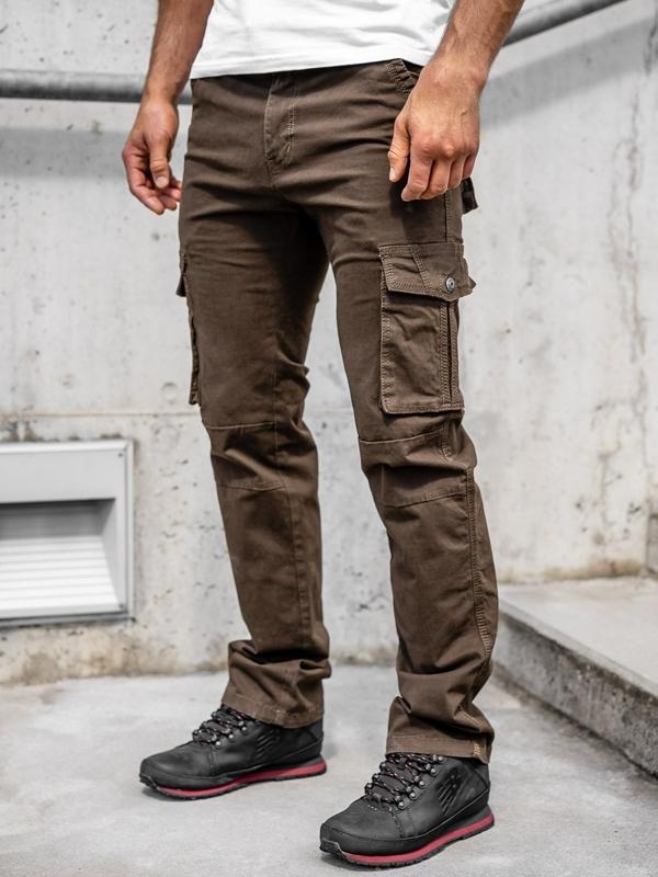 Коричневі чоловічі штани карго з поясом Bolf 8813
