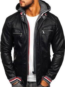 Куртка чоловіча шкіряна з капюшоном чорна Bolf 1103