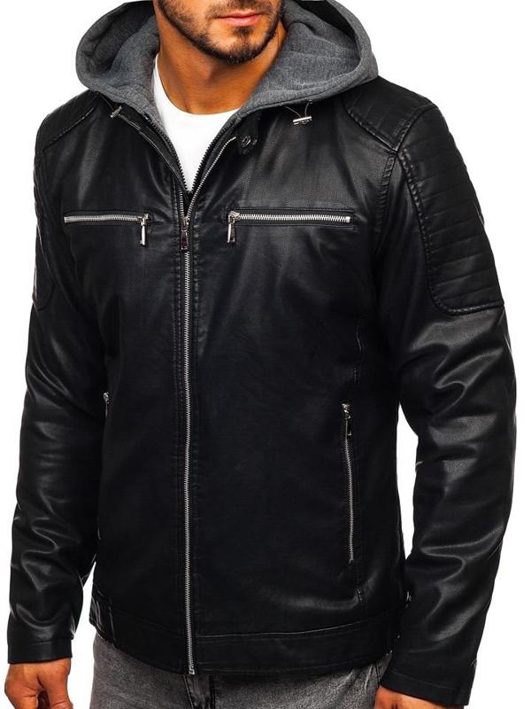 Куртка чоловіча шкіряна з капюшоном чорна Bolf 1106