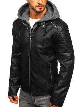 Куртка чоловіча шкіряна з капюшоном чорна Bolf 1135