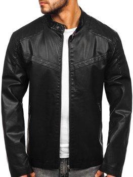 Куртка чоловіча шкіряна чорна Bolf 1128