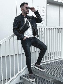Куртка чоловіча шкіряна чорна Bolf 1129
