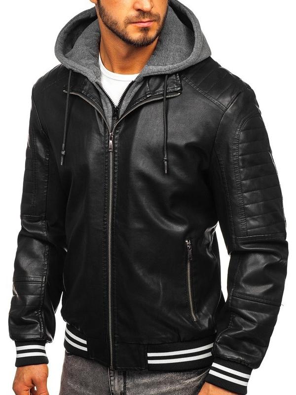 Куртка чоловіча шкіряна чорна Bolf 1133