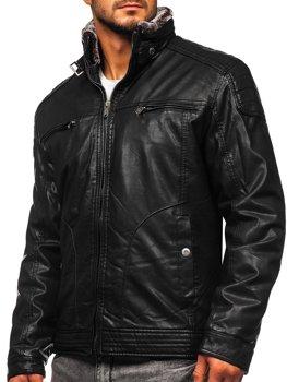 Куртка чоловіча шкіряна чорна Bolf EX839