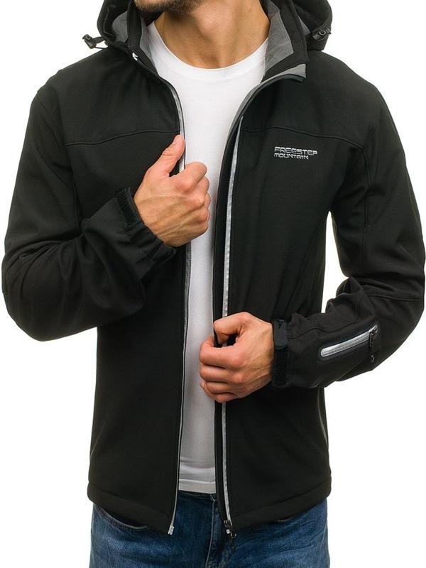 Чоловіча демісезонна куртка софтшелл чорна Bolf 3045