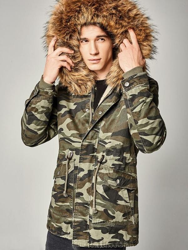 Чоловіча зимова куртка парка камуфляж-зелена Bolf B3707
