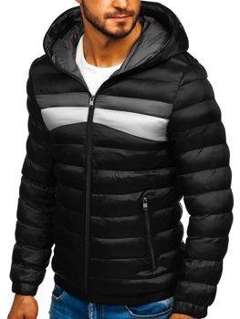 Чоловіча зимова спортивна куртка чорна Bolf 5935