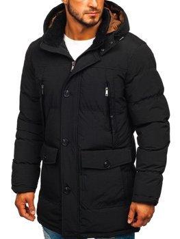 Чоловіча куртка зимова парка чорна Bolf 1097