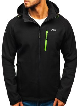 Чоловіча куртка софтшелл чорно-зелена Bolf 107A