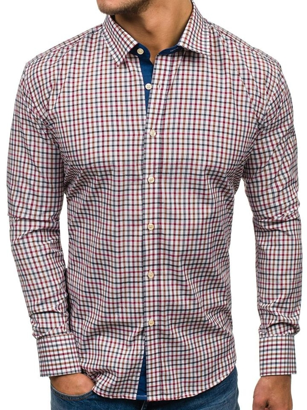 Чоловіча рубашка в клетку з довгим рукавом темно-синьо-червона Bolf GET6