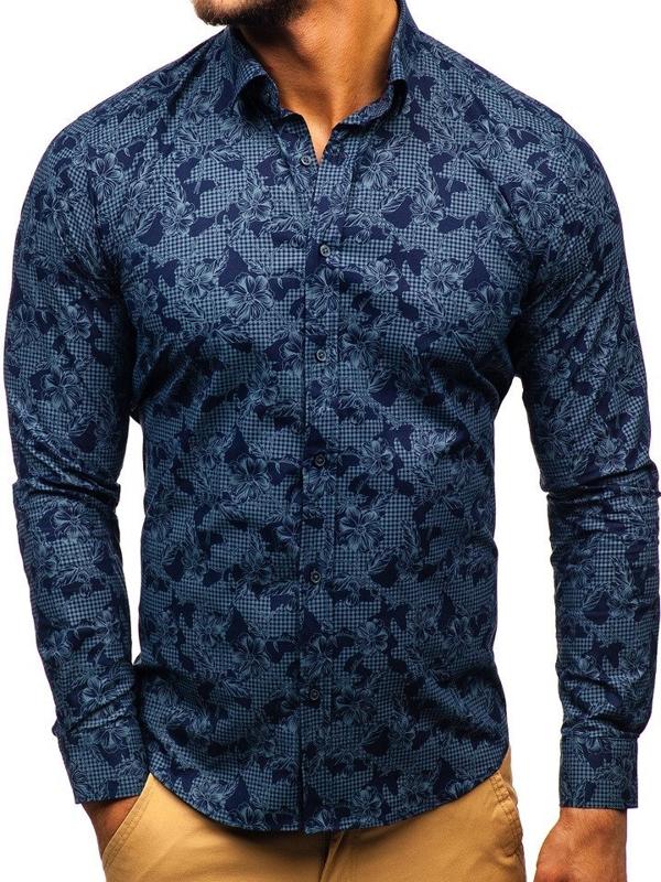 Чоловіча сорочка з візерунком з довгим рукавом темно-синя Bolf 200G64