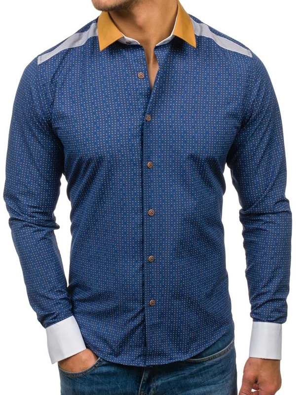 Чоловіча сорочка з візерунком з довгим рукавом темно-синя Bolf 8805