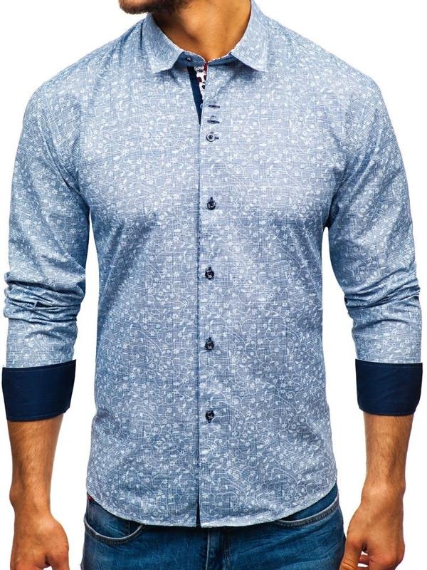 Чоловіча сорочка з візерунком з довгим рукавом темно-синя Bolf 9701