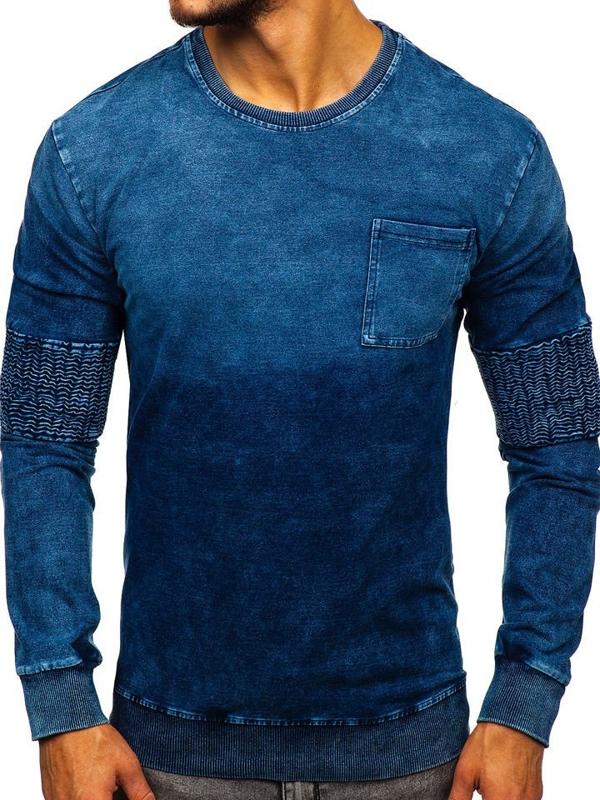 Чоловіча толстовка без капюшона синя Bolf KK1029