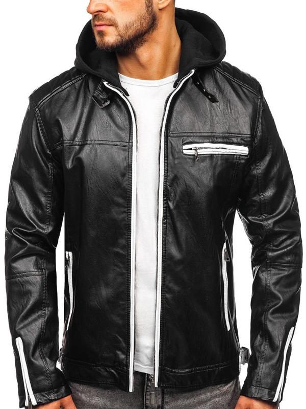 Чоловіча шкіряна куртка з капюшоном утеплена чорна Bolf 5588