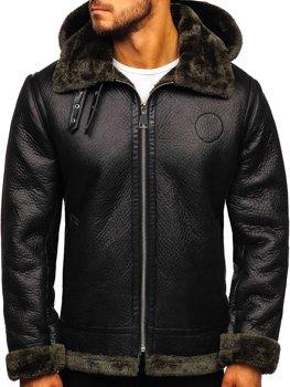 Чоловіча шкіряна куртка на хутрі чорна Bolf 88197