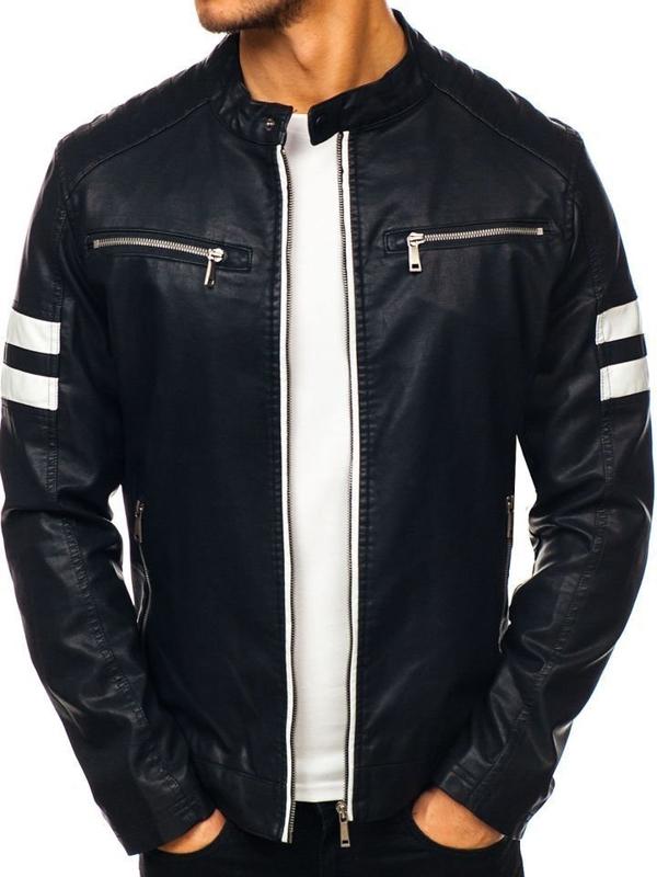 Чоловіча шкіряна куртка чорна Bolf 1075