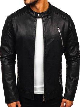 Чоловіча шкіряна куртка чорна Bolf 1107
