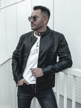 Чоловіча шкіряна куртка чорна Bolf 1108