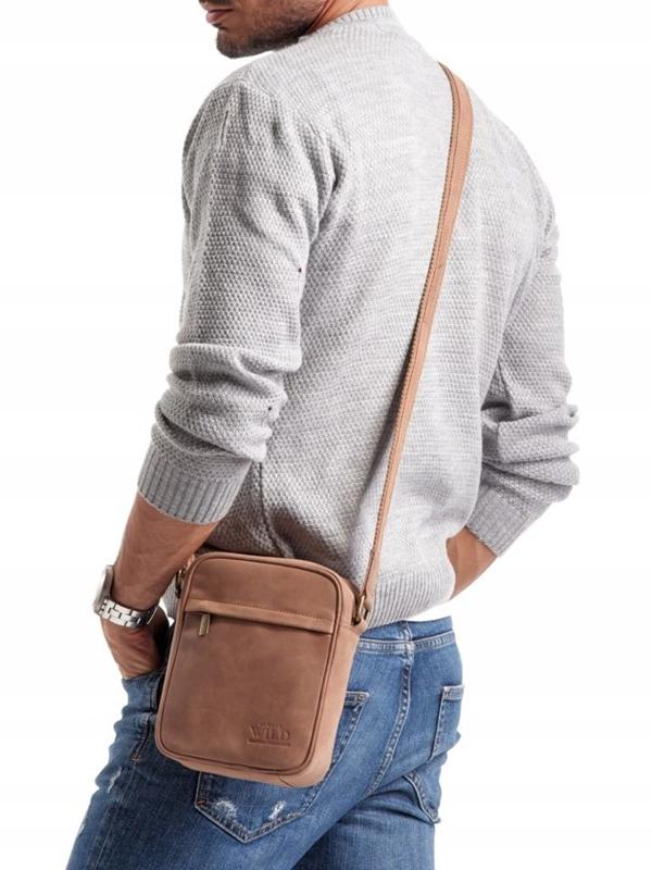 Чоловіча шкіряна сумка світло-коричнева 2447