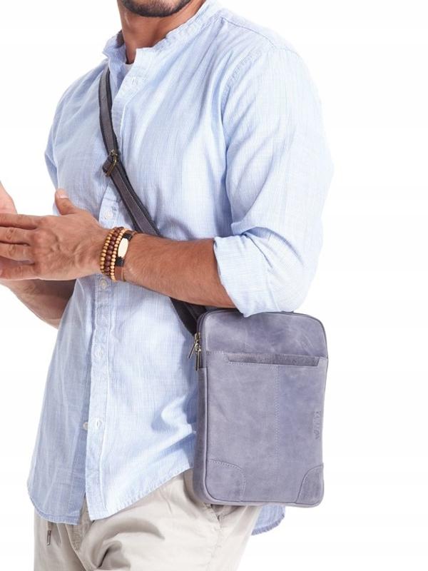 Чоловіча шкіряна сумка темно-синя 2372