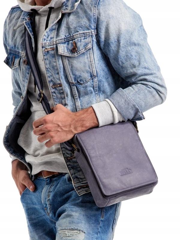 Чоловіча шкіряна сумка темно-синя 2495