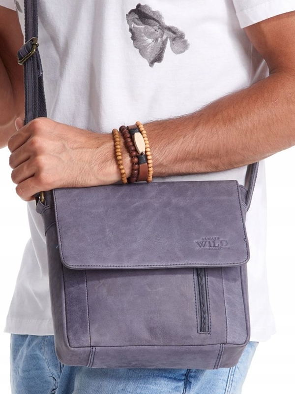 Чоловіча шкіряна сумка темно-синя 2507