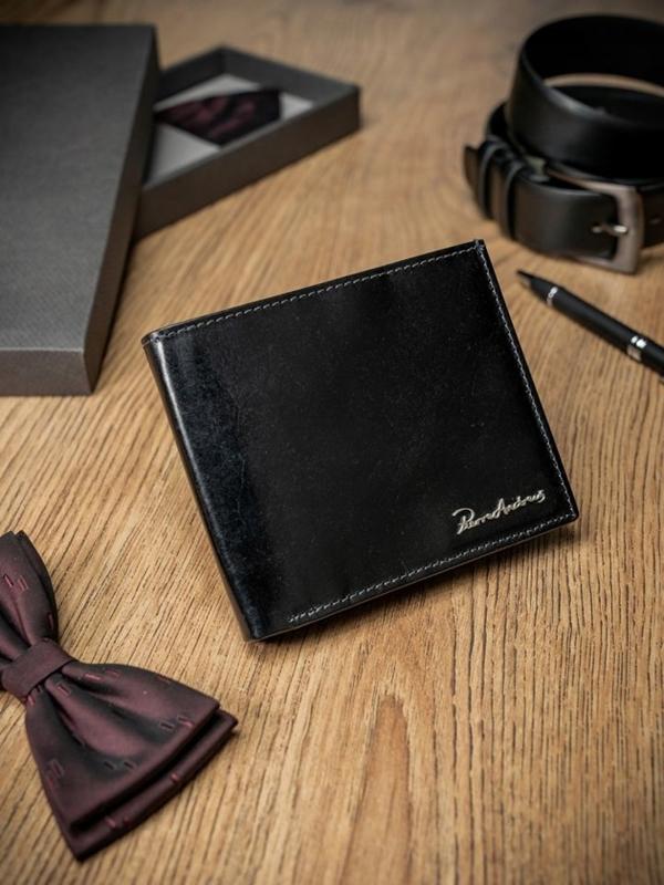 Чоловічий гаманець шкіряний чорний 1690