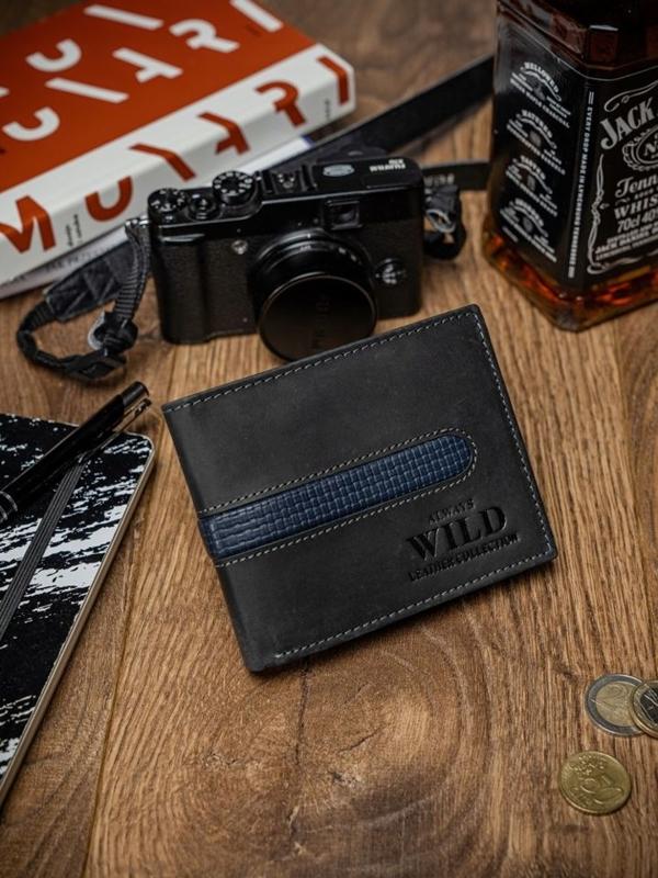 Чоловічий гаманець шкіряний чорний 2032