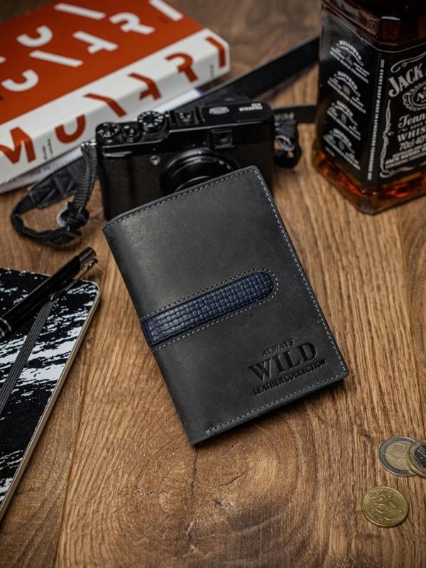 Чоловічий гаманець шкіряний чорний 2038