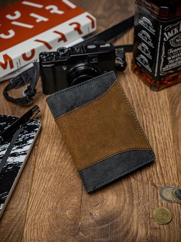 Чоловічий шкіряний гаманець коричневий 2047