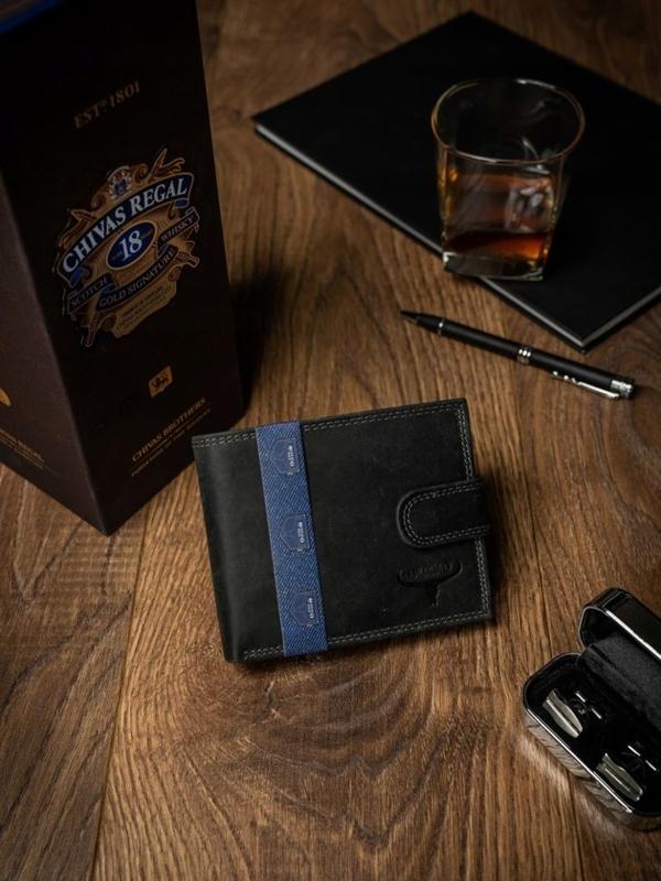 Чоловічий шкіряний гаманець чорний 2227