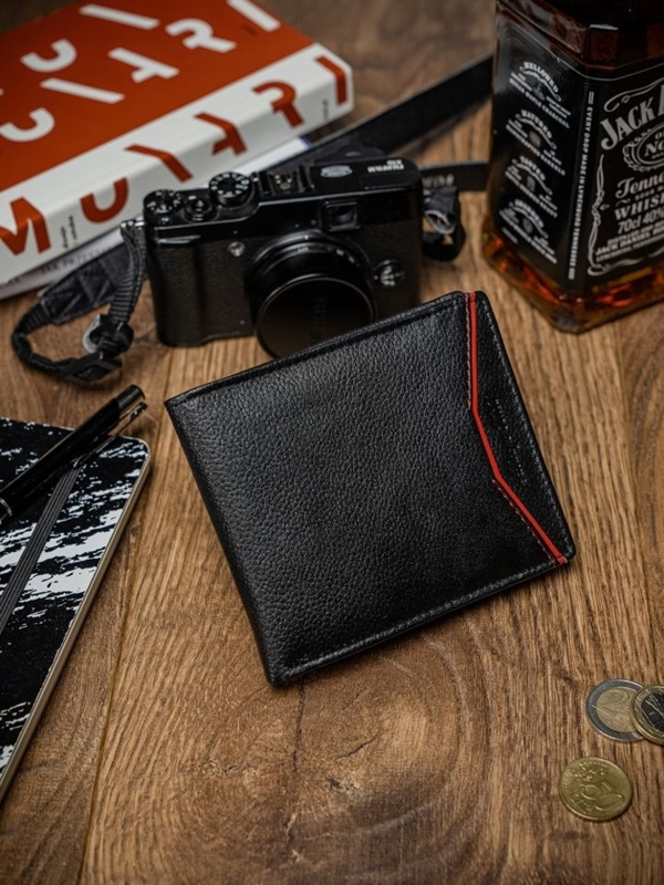 Чоловічий шкіряний гаманець чорно-червоний 2055